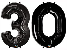 """Qualatex Black Giant 34"""" Number '30' Foil Balloon Pack"""