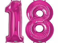 """Qualatex Magenta Giant 34"""" Number '18' Foil Balloon Pack"""