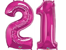 """Qualatex Magenta Giant 34"""" Number '21' Foil Balloon"""