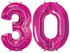 "Qualatex Magenta Giant 34"" Number '30' Foil Balloon Pack"