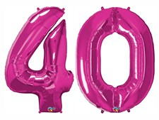 """Qualatex Magenta Giant 34"""" Number '40' Foil Balloon Pack"""