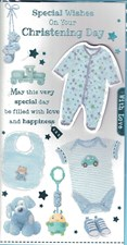 Christening Baby Boy Card - Baby Growth & Blue Toys
