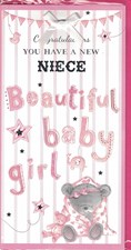 Birth Of Your Niece Card - Baby Bear & Blanket