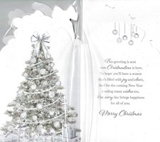 Christmas To All of You Card - Silver Christmas Tree & Presents