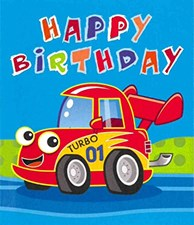 Gift Wrap Birthday Boy Cartoon Vehicles Wrapping Paper - Pack of 2 Sheets & Tag