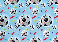Gift Wrap Birthday Boy Football Deluxe Wrapping Paper - 2 Sheets & 1 Tag