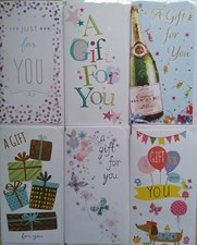 Money Wallet/ Gift Three Fold Cards Assorted Pack Of 6 - A Gift For You