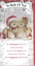 Christmas To Both Of You Card - Two Cute Bears Sitting in the Snow!