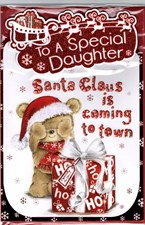To A Special Daughter Santa Claus Is Coming To Town - Cute Bear With A Present