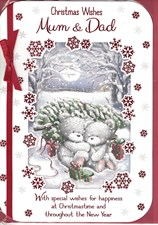 Christmas Mum and Dad Card - Cute Bears In A Wintery Forest
