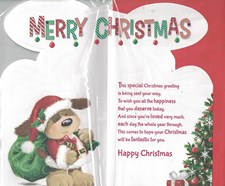 Christmas Nephew Card - Cute Santa Dog & Christmas Tree