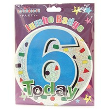 Party All Ages Badge 6 Birthday '6 Today' Large Badge - Multicoloured Shapes