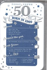Birthday Age 50th 2019 Year Silver Card - 1969 Was a Special Year BLUE