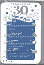 Birthday Age 30 2019 Year Card - 1989 Was a Special Year BLUE