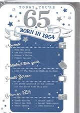 Birthday Age 65th 2019 Year Card - 1954 Was a Special Year BLUE