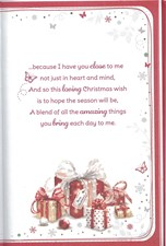 Christmas Wife Large Card - Cute Bear & Red Flower