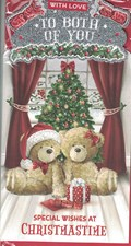 Christmas To Both Of You Card - Bear Couple & Christmas Tree