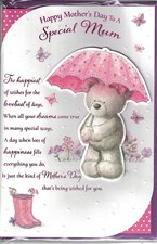Mother's Day Card - Cute Bear Holding A Pink Umbrella