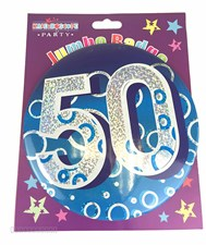 Party Badge 50 Birthday '50 Today' Large Badge - Blue Holographic