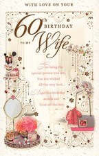 Birthday Age 60th Wife Card - Hand Bag & Make Up