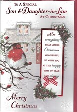 Christmas Son & Daughter in Law Card - Traditional Robin