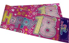 Party Banner Birthday '18th Today' Banner - Pink Holographic
