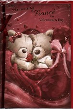 Valentines Day Fiancé Card – Bear Couple & Rose