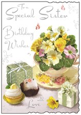 Birthday Sister Card - Tea Cup Flowers & Presents