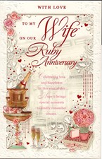 Anniversary Wife 40th Large Card – Champagne and Roses