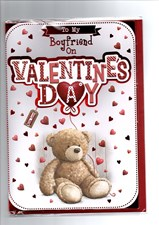 Valentines Day Boyfriend Card – Bear & Heart Balloon