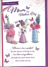 Mothers Day Card - 3 Vases Of Beautiful Flowers