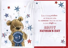 Fathers Day No.1 Dad Card - Cute Bear & Rosette