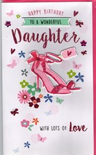 Birthday Daughter Card - Pink High Heels & Flowers