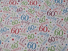 Gift Wrap Birthday 60th Wrapping Paper - Pack of 2 Sheets & 1 Matching Gift Tag