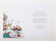 Anniversary Sister & Brother in Law Card - Champagne & Cupcakes