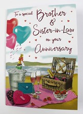 Anniversary Brother & Sister-In-Law Card - Picnic On A Beach