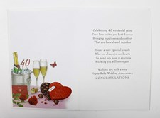 Anniversary 40th Ruby Card - Champaign And Chocolates