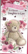 Birthday Daughter-In-Law Card - Cute Teddy Bear And Pink Flowers