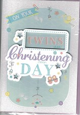 Christening Baby Twins Card - 3D Text & Illustrations
