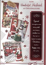 Christmas Husband Card - Collage of Santa Illustrations With A Series of Verses!