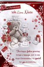 Christmas Niece Card - Cute Bear With Presents and Cards