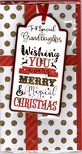 Christmas Granddaughter Card - Illustrative Fonts