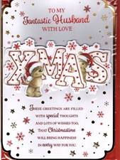 To My Fantastic Husband With Love At Xmas Card - Cute Bears And Snowflakes