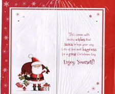 Christmas Great Granddaughter Card - Santa & Bag of Christmas Presents