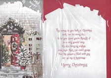 Christmas Mum & Dad Card - Traditional Christmas House & Snowman