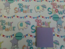 Gift Wrap Baby Shower Luxury Elephants & Blue Stripes - 2 Sheets & 1 Tag