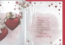 Valentines Day Someone Special Card – Bear Couple & Floating Hearts