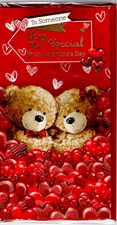 Valentines Day Someone Special Card – Bear Couple & Hearts