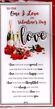 Valentines Day One I Love Card – Champagne & Chocolates