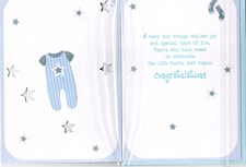 Birth Of Your Brother Card - Blue Dungarees & Stars
